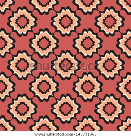 Abstract Geometric Retro Texture. Seamless pattern. Floral lightning ornament. Lacy vintage background