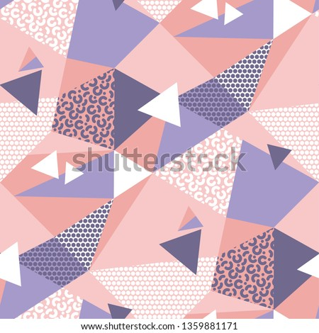 Abstract geometric 90s vibes seamless pattern in pale violet and pink colors. Splits and mosaic repeatable motif for surface design, wrapping paper, web and print.