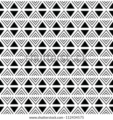 Abstract geometric seamless pattern. Black and white aztec style pattern with triangle and line