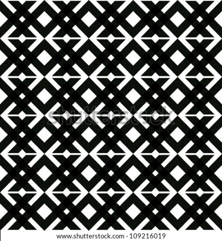 Abstract geometric seamless pattern. Black and white style pattern with rhombus and line.