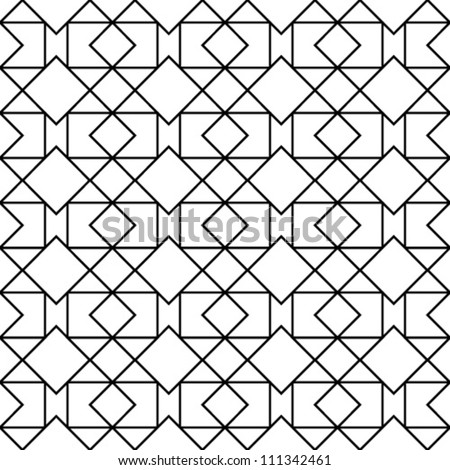 Abstract geometric seamless pattern. Black and white style pattern with triangle, rhombus and lines.