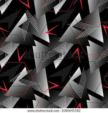 Abstract geometric seamless pattern. Fashion Style Design Print Triangle. With vertical fading lines, tracks, halftone stripes. Extreme sport style illustration. Trendy Urban colorful backdrop.