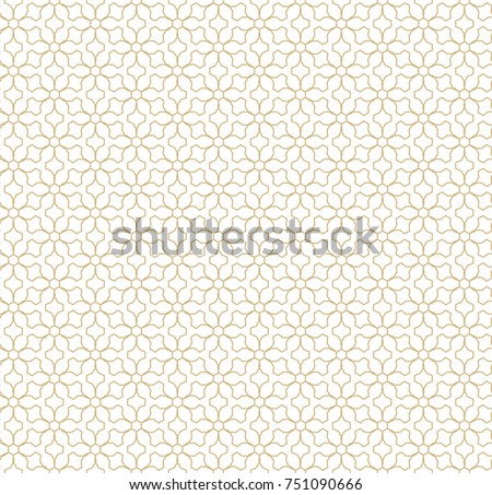 Abstract geometric seamless pattern. Golden lines texture, elegant floral lattice, mesh, weave. Oriental traditional luxury background. Subtle gold ornament, repeat tiles, modern design. Stock vector
