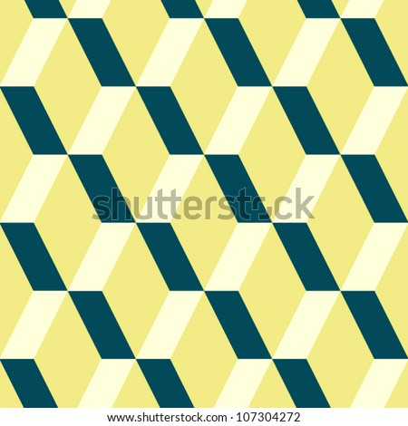 Abstract geometric seamless pattern in yellow and blue, vector