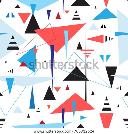 Abstract geometric seamless pattern of triangles on a light background