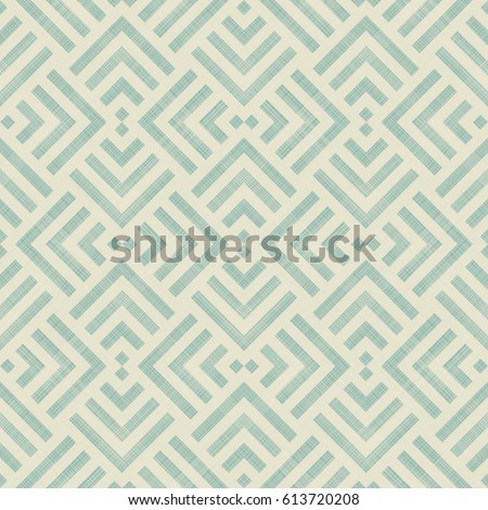 Abstract geometric seamless pattern on texture background in beige and turquoise colors. Endless trellis pattern can be used for ceramic tile, wallpaper, linoleum, textile, web page background.