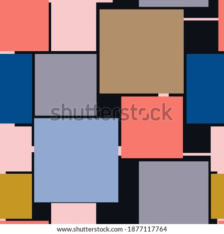 Abstract geometric seamless pattern. Vector with squares in trending colors, Snorkel Blue, Peach Echo, Iced Coffee, Lilac Gray, Rose Quartz, on a black background Foto stock ©