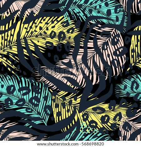 Abstract geometric seamless pattern with animal print. Trendy hand drawn textures.