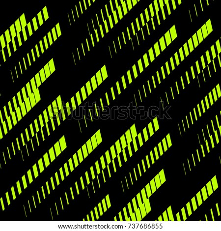 Abstract geometric seamless pattern with diagonal lines, tracks, halftone stripes. Extreme sport style, urban art texture. Trendy background in bright neon colors, green and black. - Stock vector