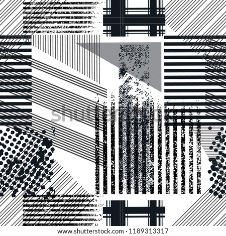 abstract geometric seamless pattern with , paint splashes, grunge elements. monochrome background. geometric pattern for girls, boys, fashion textile, sport clothes. Urban modern design