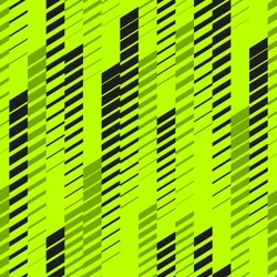Abstract geometric seamless pattern with vertical fading lines, tracks, halftone stripes. Extreme sport style texture, urban art. Trendy background in bright neon colors, green, black. - Stock vector