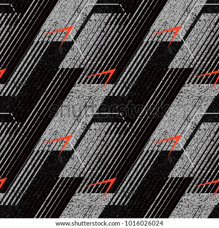 Abstract geometric seamless pattern with vertical fading lines, tracks, halftone stripes. Extreme sport style illustration, urban art. Stock vector.