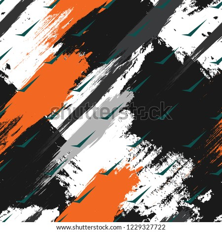 Abstract geometric seamless pattern with vertical fading lines, tracks, halftone stripes. Extreme sport style illustration. Trendy Urban colorful backdrop. Camouflage Army Military Pattern Art Print