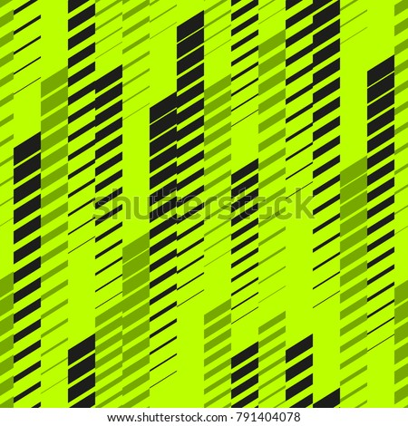 Abstract geometric seamless pattern with vertical fading lines, tracks, halftone stripes. Extreme sport style texture, urban art. Trendy background in bright neon colors, green, black. - Stock vector - Shutterstock ID 791404078