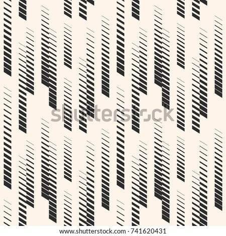 Abstract geometric seamless pattern with vertical halftone lines, tracks, stripes. Extreme sport style illustration, hipster fashion design, urban art. Monochrome graphic texture. - Stock vector
