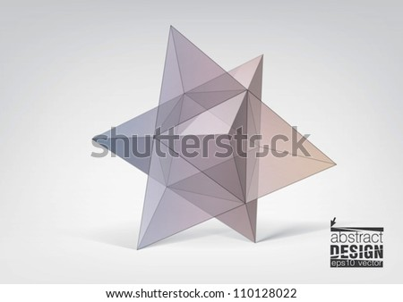 Abstract geometric shape from pyramids, you can change colors - stock vector
