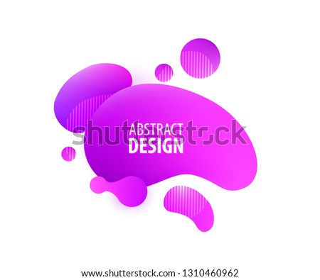 Abstract geometric shapes. Dynamical pink color form and circles. Fluid trendy dynamic elements.