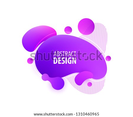 Abstract geometric shapes. Dynamical purple color form, rounds and line. Futuristic trendy dynamic elements