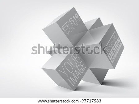 Abstract geometric shapes from cubes over white background. Vector illustration.