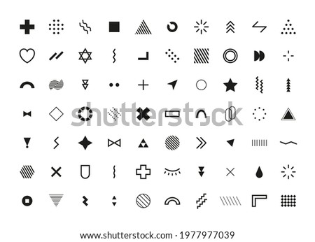 Abstract Geometric Shapes. Memphis Design Elements set. Black Retro Minimal Cover Template Design for Web, Poster and Commercial Banner. Modern abstract background. Vector illustration. Stockfoto ©