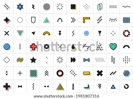 Abstract Geometric Shapes. Memphis Design Elements set. Color Retro Minimal Cover Template Design for Web, Poster and Commercial Banner. Modern abstract background. Vector illustration. Stockfoto ©
