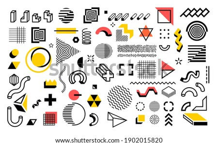 Abstract geometric shapes. Modern line memphis graphic elements. Decorative background with minimal lines and halftone figures. Composition of outline hatching forms or dots. Simple contour vector set Stockfoto ©