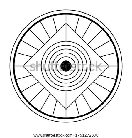 Abstract geometric symbol. Sacred geometry sign with geometric shapes. Isolated on white background. Black linear shapes. Mystic mandala, spiritual design. Elegant tattoo art. Vector elements. ストックフォト ©