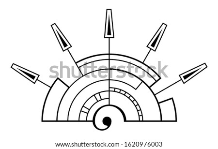 Abstract geometric symbol, solated on white background, stylized sunrise. Black linear shapes. Linear logo. Sacred geometry sign. Spiral element. Elegant tattoo art. Vector elements.