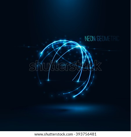 Abstract geometric technology shape of glowing particles .Broken light/neon dots and lines sphere wireframe.Network connection.Neon grid globe.Futuristic background .Vector digital 3d illustrations .