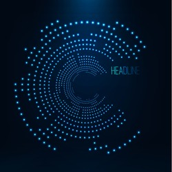 Abstract geometric technology shape of glowing particles . Dotted tunnel . Points of lights .Vector futuristic illustrations