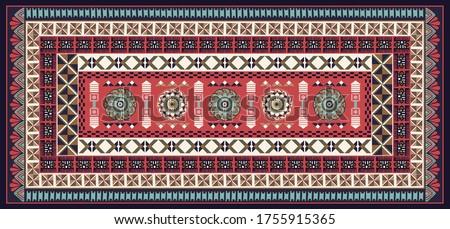 Abstract geometric tribal print, Tonga Islands. Tapa Bark Wall Art, Ethnic Islanders Wall Decor. Fiji Ethnography design. Tapa cloths fijian masi melanesia. Aboriginal carpet, mat, vector clipart Zdjęcia stock ©
