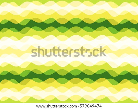 Abstract geometric vector background design with curves. Seamless striped pattern with horizontal green and yellow waves. Shapes formed by curve lines. Geometric background template, vector texture.