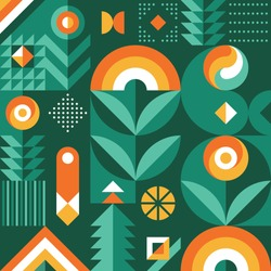 Abstract geometric vector pattern in Scandinavian style. Agriculture symbol. Harvest of garden. Background illustration graphic design.