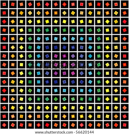 Abstract geometric vector rainbow and black squares background