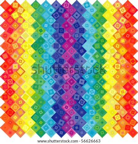 Abstract geometric vector rainbow squares background
