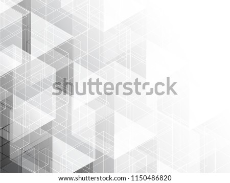 Abstract geometric white and gray with space modern design on Light gray background, vector illustration #1150486820