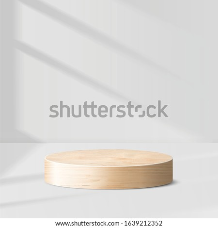 Abstract geometric wood podium with sun light on white background. Empty pedestal platform for award, product presentation, mock up background, Podium, stage pedestal or platform illuminated. 3D