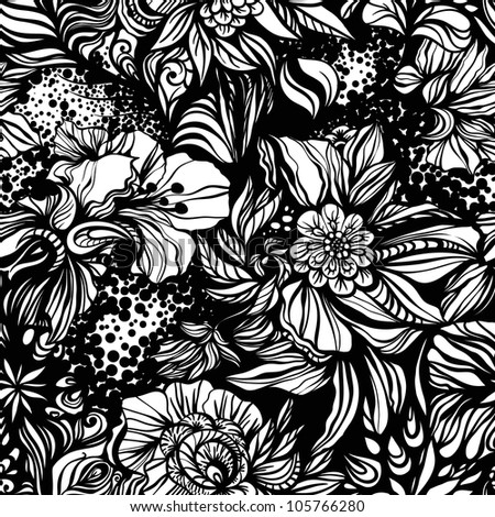 Abstract geometric zentangle Fantasy  floral seamless pattern for background or wrapping paper