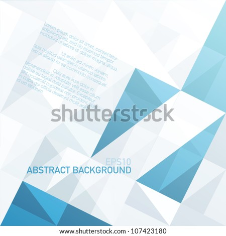 Abstract geometrical background with blue triangles and space for your message. Vector, EPS10 - stock vector