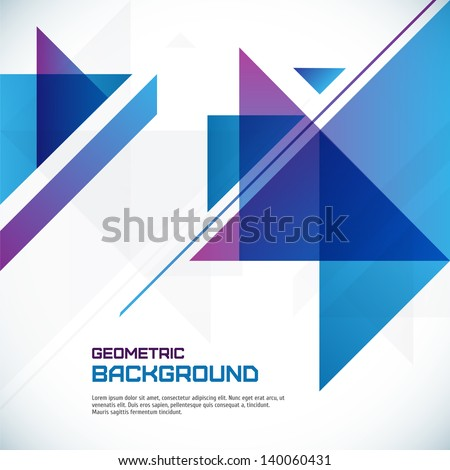 Abstract geometrical background with blue triangles and space for your message. Vector, EPS10