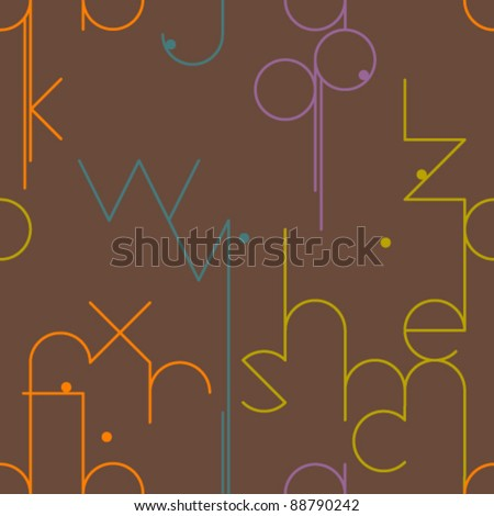 Abstract geometrical seamless pattern with letters