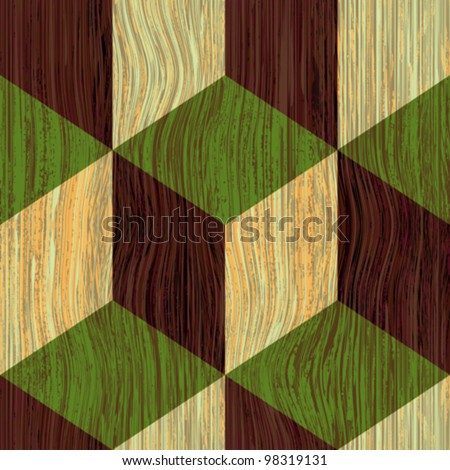 Abstract  geometrical shapes colored wooden textured background. Seamless pattern. Vector.