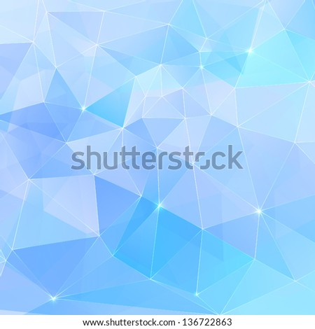 Abstract geometry blue crystals seamless pattern