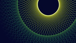 Abstract geometry fractal background, dark circle vector poster