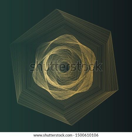 Abstract geometry. Golden geometry in golden lines on dark green background