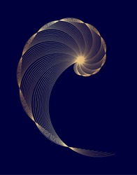 Abstract geometry. Golden ratio in gold colors on dark blue background