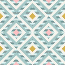 Abstract geometry in retro colors, diamond shapes geo pattern. Seamless vector pattern. Mint and coral pink background. Fashion fabric pattern design.