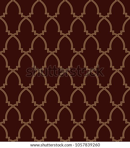 Abstract geometry pattern in Arabian style. Seamless vector background. Brown and gold graphic ornament. Simple lattice graphic design