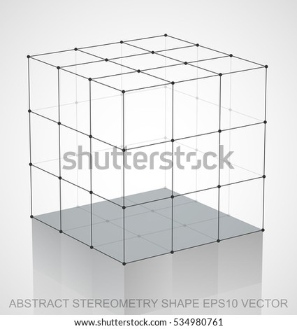Abstract geometry shape: Black sketched Cube with Reflection. Hand drawn 3D polygonal Cube. EPS 10, vector illustration.