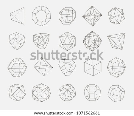 abstract geometry shapes vector outline set